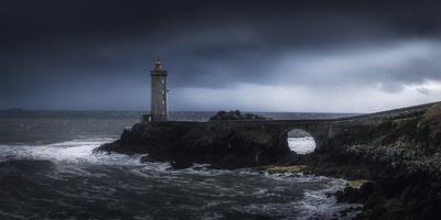 Europe, France, Plouzané - Stormy Day Ath The Lighthouse Of The Petit Minou