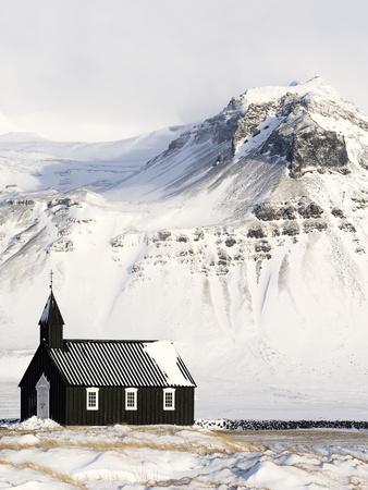 Europe, Iceland, Budir - The Famous Black Church Of Budir Facing A Mountain