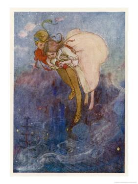 Peter Pan and Wendy Float Away Over the City by Alice B^ Woodward