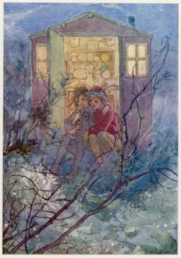 Peter Pan and Wendy Sit on the Doorstep of the Wendy House by Alice B. Woodward
