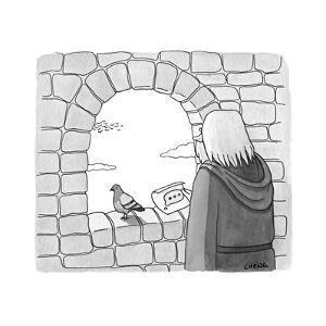 Carrier pigeon brings note that is a text message ellipses. - New Yorker Cartoon by Alice Cheng