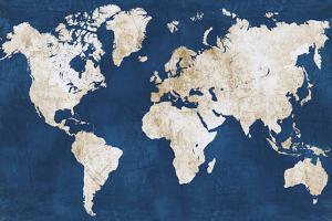 World Map NavyGold by Alicia Vidal