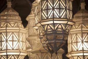 Africa, Morocco, Marrakesh. Close-Up of Ornate Metal Lanterns by Alida Latham