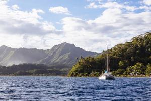 French Polynesia, Society Islands, Raiatea. Catamaran in Choppy Water by Alida Latham
