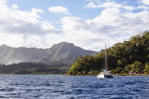 French Polynesia, Society Islands, Raiatea. Catamaran in Choppy Water by Alida Latham