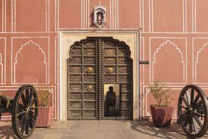 India, Rajasthan, Jaipur, Entrance of City Palace with Shrine by Alida Latham