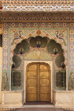 India, Rajasthan, Jaipur, Peacock Door at City Palace by Alida Latham