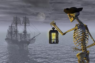 Skeleton Pirate With Ghost Ship by AlienCat