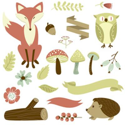 Autumn Forest, Woodland Animals, Flowers and Ribbons by Alisa Foytik
