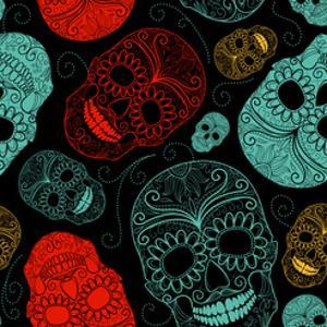Background with Green, Black and Red Skulls by Alisa Foytik