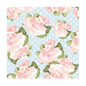 Beautiful Rose Pattern with Blue Polka Dot Background by Alisa Foytik