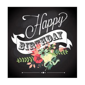 Birthday Card in Chalkboard Calligraphy Style with Cute Flowers by Alisa Foytik