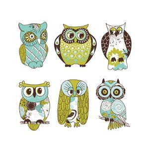 Collection of Six Different Owls by Alisa Foytik