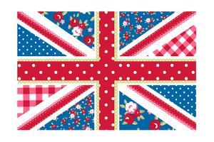 Cute British Flag In Shabby Chic Floral Style by Alisa Foytik