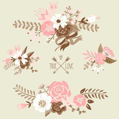 Cute Floral Bouquets, Retro Flowers by Alisa Foytik