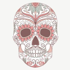 Day of the Dead Colorful Skull with Floral Ornament by Alisa Foytik