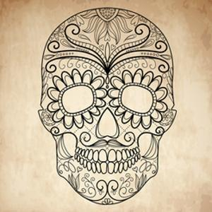 Day of the Dead Grungy Skull by Alisa Foytik