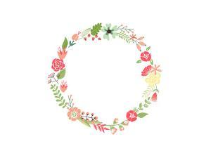 Floral Frame. Cute Retro Flowers Arranged Un a Shape of the Wreath Perfect for Wedding Invitations by Alisa Foytik