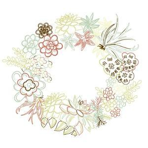 Floral Frame. Cute Succulents Arranged Un a Shape of the Wreath Perfect for Wedding Invitations And by Alisa Foytik