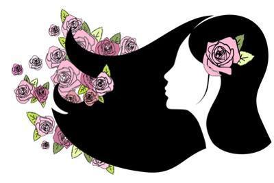 Floral Girl Silhouette by Alisa Foytik