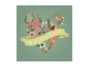 Floral Heart Card. Cute Retro Flowers Arranged Un a Shape of the Heart, Perfect for Wedding Invitat by Alisa Foytik