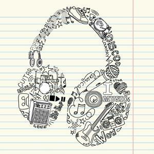 Music Doodles In The Shape Of A Earphones by Alisa Foytik
