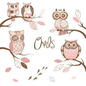 Owls, Trendy Card with Owls Sitting on the Brunches by Alisa Foytik