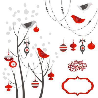 Retro Christmas Card with Two Birds, White Snowflakes, Winter Trees and Baubles by Alisa Foytik