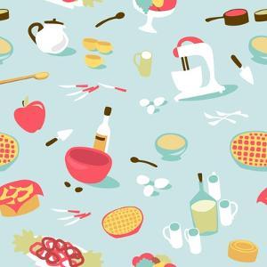 Retro Seamless Kitchen Pattern. Vector Illustration by Alisa Foytik
