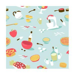 Retro Seamless Kitchen Pattern. Vector Illustration by Alisa Foytik