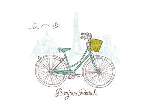 Riding a Bike in Style, Romantic Postcard from Paris by Alisa Foytik