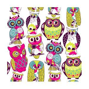 Seamless and Colourful Owl Pattern. by Alisa Foytik