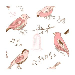 Seamless Background Made of Cute Hand-Drawn Bird Doodles by Alisa Foytik