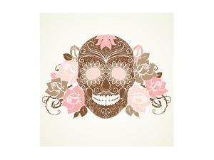 Skull and Roses, Colorful Day of the Dead Card by Alisa Foytik
