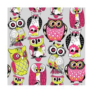 Stock Vector Illustration: Seamless and Colourful Owl Pattern. by Alisa Foytik