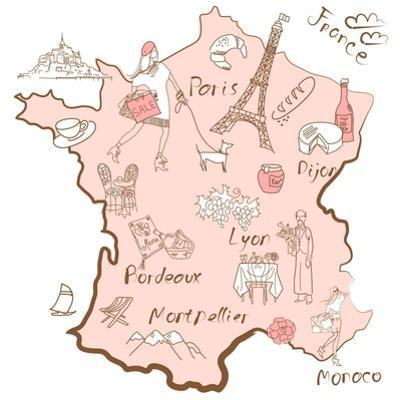 Stylized Map of France. Things that Different Regions in France are Famous For. by Alisa Foytik