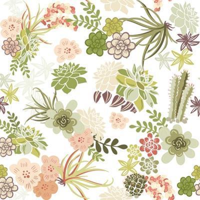 Succulent Plants Seamless Pattern Background by Alisa Foytik