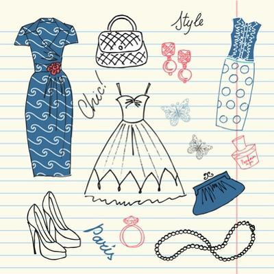 Summers Classics, Fashion Background with a Summer Dress, Shoes, Bag and Accessories by Alisa Foytik