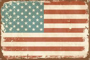 Vintage Style American Flag on the Tin Sign by Alisa Foytik