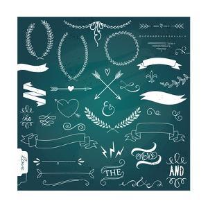 Wedding Graphic Set, Arrows, Hearts, Laurel, Wreaths, Ribbons and Labels by Alisa Foytik