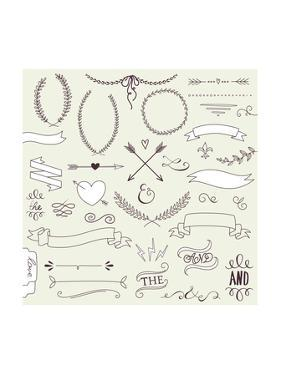 Wedding Graphic Set, Arrows, Hearts, Laurel, Wreaths, Ribbons and Labels. by Alisa Foytik