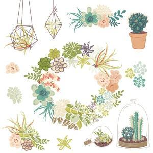 Wedding Graphic Set with Succulents, Wreath and Glass Terrariums by Alisa Foytik