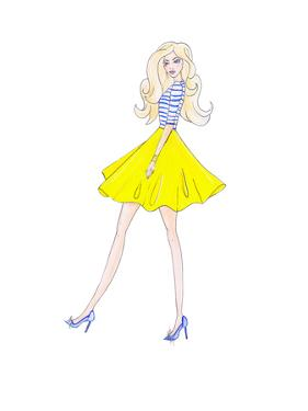 Alison Yellow Skirt by Alison B Illustrations