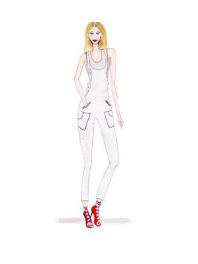 Dungarees White by Alison B Illustrations