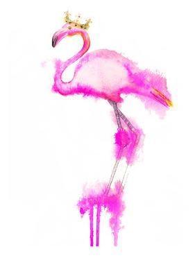 Flamingo Crown Print by Alison B Illustrations
