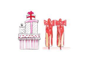 Xmas Red Shoe Gifts by Alison B Illustrations