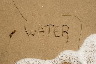 California, Santa Barbara Co, Jalama Beach, Water Written in Sand by Alison Jones
