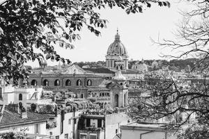 Italy, Rome. St Peter's dome from Viale della Trinita dei Monti. by Alison Jones