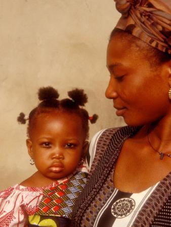 Muslim Woman with Daughter, Techiman, Brong-Ahafo Region, Dagomabaline Area, Ghana