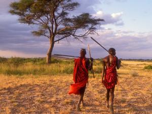 Two Maasai Morans Walking with Spears at Sunset, Amboseli National Park, Kenya by Alison Jones